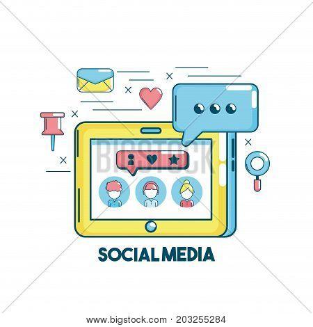 social media connection in the digital network vector illustration