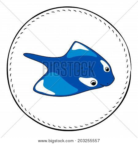 Manta isolated on white background. Blue manta or skate cartoon vector illustration. Underwater animal handdrawn patch. Sea animal drawing. Manta animal clipart. Marine fauna character. Manta ray icon