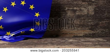 European Union flag on a wooden background. 3d illustration