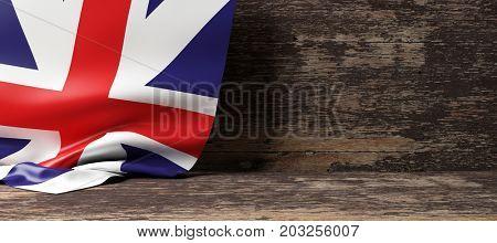 United Kingdom flag on a wooden background. 3d illustration