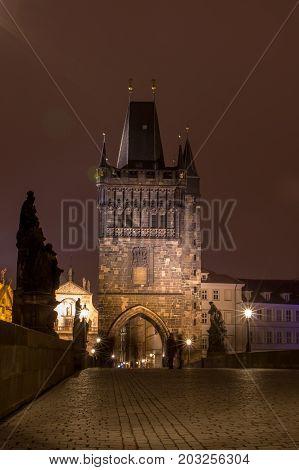 Prague, Czech Republic - January 24, 2015. Charles Bridge In Prague At Night. Charles Bridge Is One