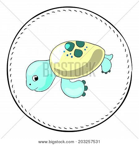 Turtle isolated on white background. Sea turtle cartoon vector illustration. Underwater tortoise handdrawn patch. Cartoon turtle drawing. Nursery clip art with tropical sea animal. Marine fauna