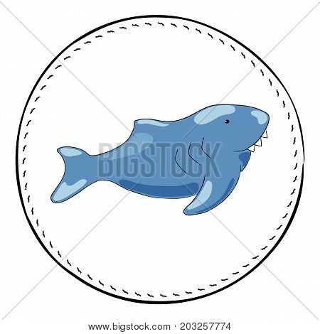 Shark isolated on white background. Sea danger shark cartoon vector illustration. Underwater animal handdrawn patch. Cute shark fish drawing. Oceanic animal clipart. Marine fauna shark character