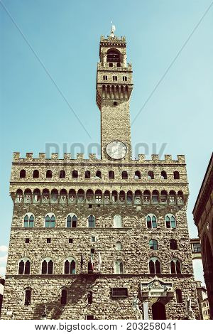 Palazzo Vecchio - Old Palace Florence Tuscany Italy. Cultural heritage. Travel destination. Old photo filter.