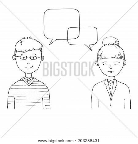 Young man and young woman with with speech balloons over head. Vector illustration in a sketch style.