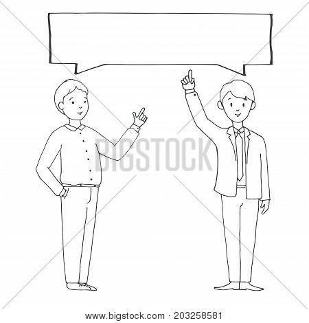 Two young men in office clothes with a banner over their heads. Vector illustration in a sketch style.