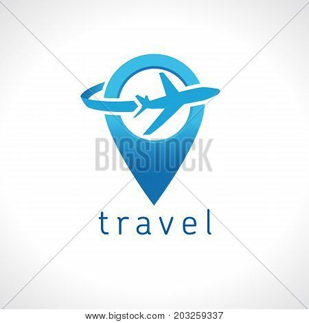 Air travel company map pointer logo template. Airport and travel agency location on map logo concept. Holiday tour on plane icon vector