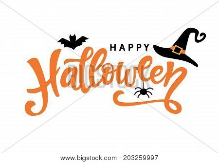 Happy Halloween typography poster with handwritten calligraphy text, isolated on white background. Vector Illustration