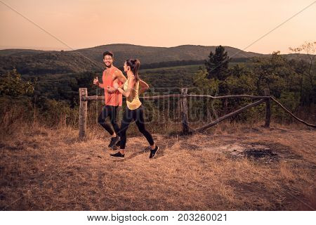 Happy Smiling, Two Young People, Man Woman, Running Runners, Sport Clothes Tights, Mountains, Path,