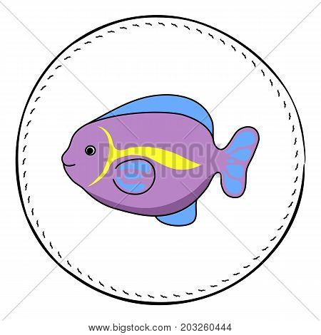 Funny tropical fish isolated on white background. Coral fish cartoon vector illustration. Underwater animal handdrawn patch. Aquarium fish drawing. Tropical sea animal clipart. Marine fauna character