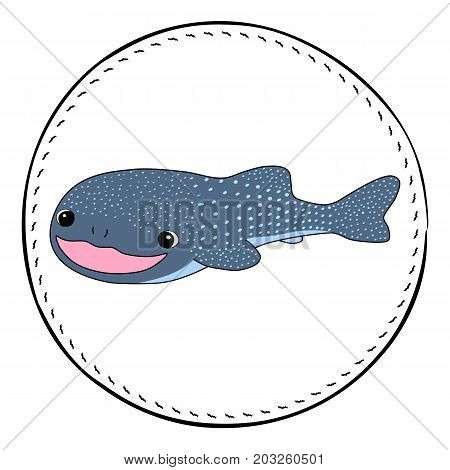Whale shark isolated on white background. Friendly shark cartoon vector illustration. Underwater animal handdrawn patch. Cartoon fish drawing. Nursery clip art with tropical sea animal. Marine fauna