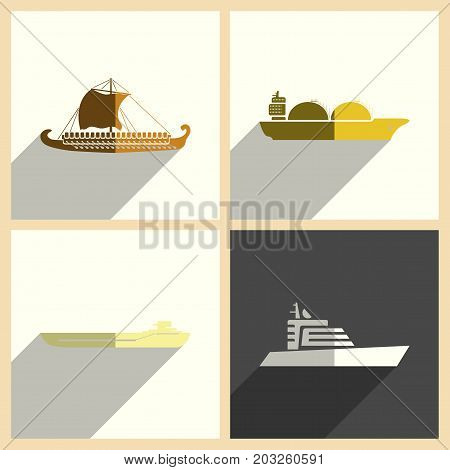 Sea transport set of flat icons with shadow. Simple vector illustration