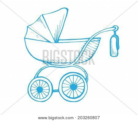 Hand drawn baby stroller isolated on white background. Vector illustration of a sketch style.