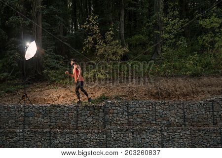 One Young Adult Man, Wilderness, Jungle Portrait, Sport Clothes, Outdoors Nature Forest, Flash Light