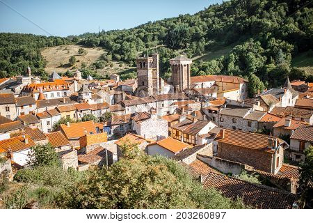 Top cityscape view on Blesle village during the sunset in Auvergne region, France