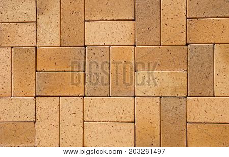 Beautiful German Ceramic Clinker Pavers for Patio. Floor pavers in a path detail of a pavement to walk textured background