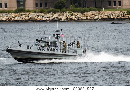 New London Connecticut USA - 27/7/2017: A U.S. Navy armed patrol boat protects the waters of the Long Island Sound in the harbor around New London Connecticut.