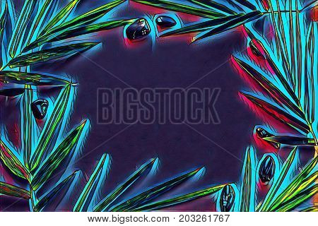 Glowing leaf and pebbles on blank background. Tropical leaf ornament on table top view. Bamboo leaf with seashore pebble. Tropic frame flat lay. Fantastic neon background. Colorful frame glow banner