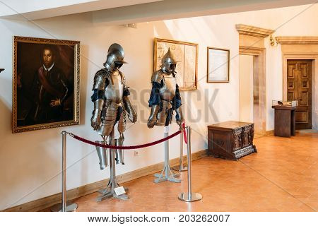 Mir, Belarus - September 1, 2016: Armor of the knights warriors In Armored Room In Castle Complex Museum. Famous Landmark, Architectural Ensemble Of Feudalism, Ancient Cultural Monument, UNESCO Heritage