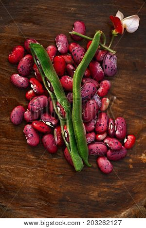 scarlet running beans - pod, flower and beans on wooden table