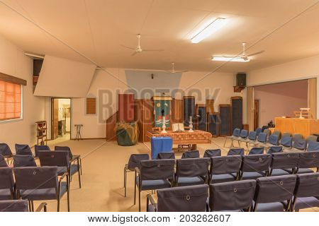 HENTIES BAY NAMIBIA - JUNE 29 2017: Inside of the Dutch Reformed Church in Henties Bay a well known holiday town on the Skeleton Coast of Namibia