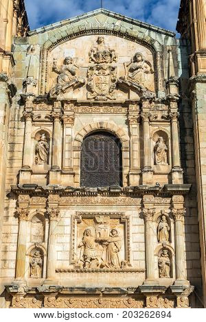 Details on the facade of the Santo Domingo church in Oaxaca Mexico