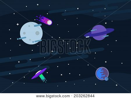 Vector flat space design background. Cute template with Planets, UFO, Comet, Moon and Stars in Outer space. Illustration.