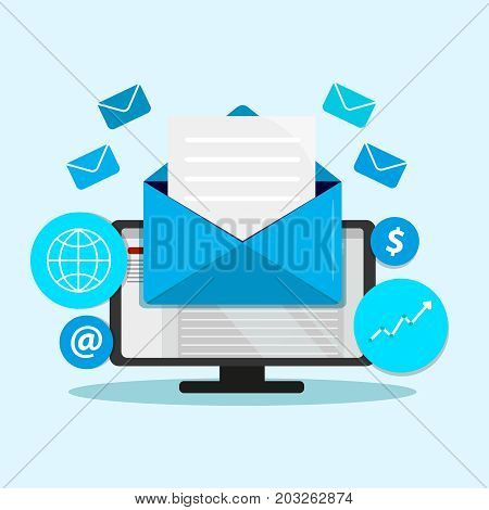 Email marketing campaign, newsletter marketing, drip marketing, email marketing flat banner concept with icons. Vector Illustration poster