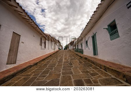 July 22, 2017 Barichara, Colombia: immaculate colonial architecture is a main attraction point for tourists in the town