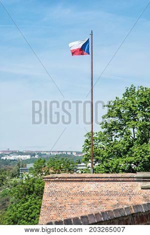 Czech flag on the Spilberk castle Brno southern Moravia Czech republic. State symbol.