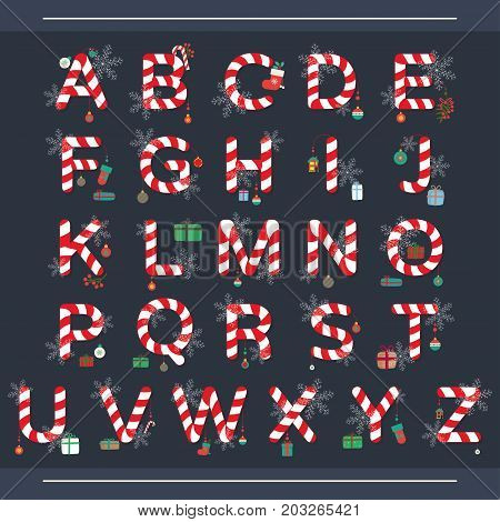 Christmas alphabet from red and white candies.