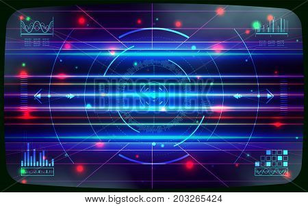 HUD UI and infographic elements. Sci-fi futuristic user interface. Technology background. Spaceship hightech screen concept. Computer game screen. Vector illustration