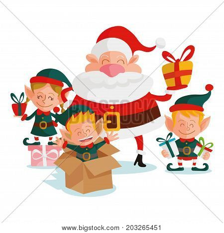 Santa claus and elves, christmas vector illustration.