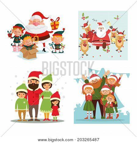 Set christmas, family, Santa Claus and deer, vector illustration.