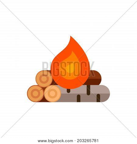 Campfire in flat style. Vector illustration. Firewood for a fire