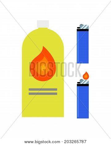 Starter fluid. Lighter. In flat style. Vector illustration