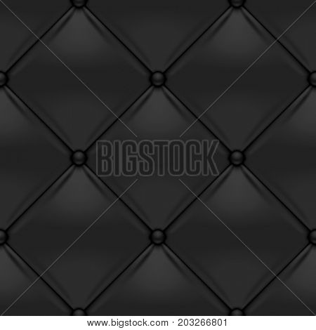 Black button-tufted leather background. Black upholstery seamless pattern