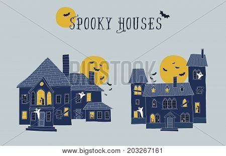 Set of two halloween haunted houses vector illustrations. Each element on a different layer