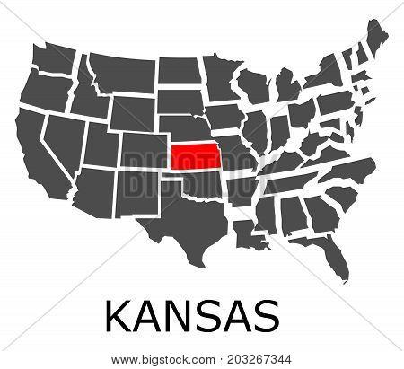 State Of Kansas On Map Of Usa