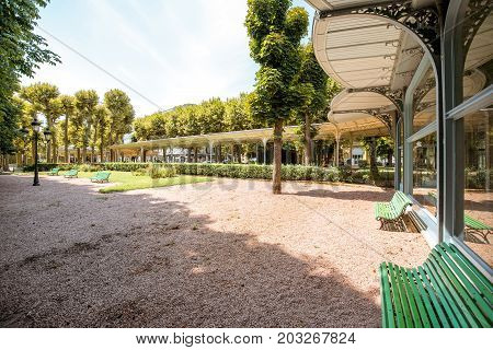 Park near the thermal spa building in Vichy city, France