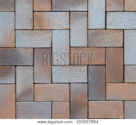 Beautiful Colorful Luxury German Vintage Ceramic Clinker Pavers for Patio. Floor pavers in a path detail of a pavement to walk textured background