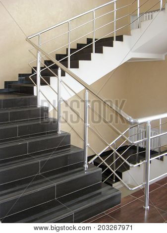 modern office stairs with with tile steps
