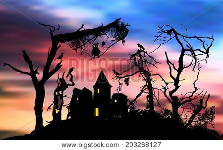 Scary halloween house in a terrifying forest with owl and birds. Halloween landscape with haunted forest abandoned ghost house and dramatic sky