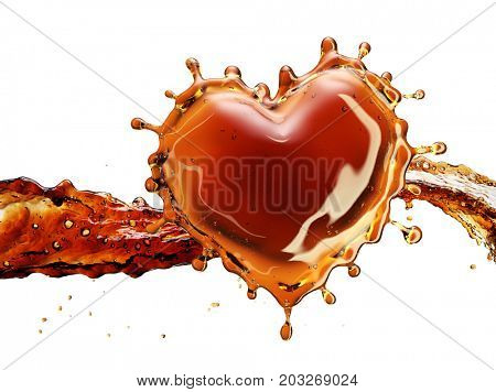 Heart from cola splash with bubbles isolated on white background. 3d rendering