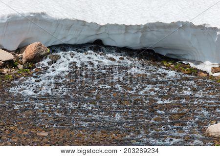 Blue Lake Outlet Melting Snow Colorado Landscape Mt Toll Trail