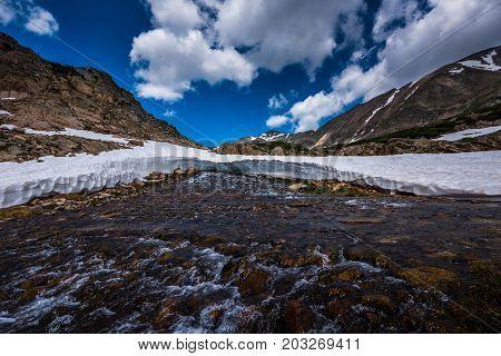 Blue Lake Outlet Melting Snow Colorado Landscape