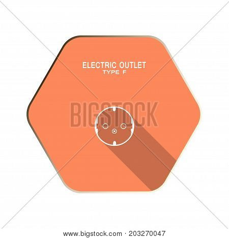 Vector Electric socket type F flat icon on the red hexagon background with shadow.