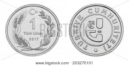 One Turkish Lira silver coin, both sides, isolated on white background.