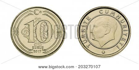 Both sides of Turkish coin currency ten Kurus made of 3,15 gram nickel and copper zinc alloy isolated.