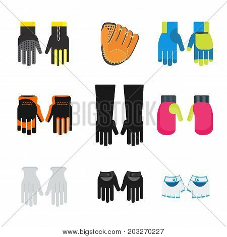 Flat design vector illustration set of different kinds of gloves icon. Elegant and athletic, working and protective. For dandies and workers on production. Isolated on a white background.